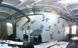 OnApp's UK headquarters is located in the Old Truman Brewery complex on Brick Lane, London. The office walls are decorated by Nathan Bowen, a street artist whose work can be seen around Brick Lane and other parts of London.