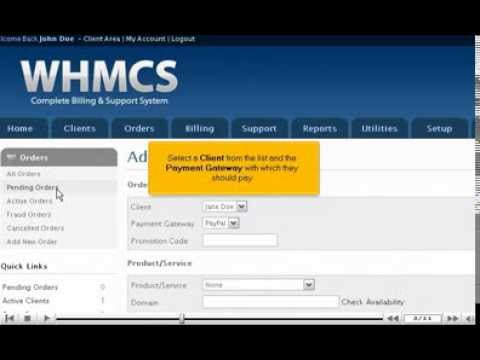 How to place a new order for a client using WHMCS - Hosting