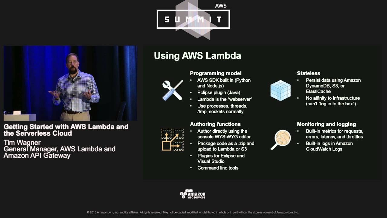 AWS Summit Chicago 2016: Getting Started with AWS Lambda and the